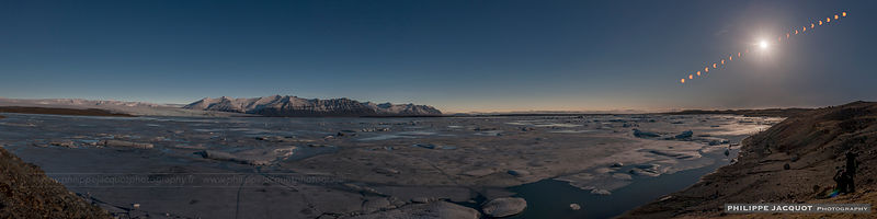 2015 - Iceland - Jokulsarlon lake - Multiple exposure of the eclipse