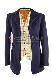 Stock image - Blue hunting jacket and check waistcoat on white background