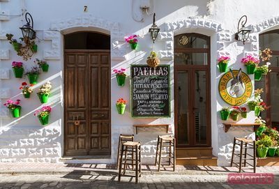 Outdoor cafe in the old town, Tarifa, Andalusia, Spain