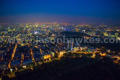 Aerial view of Hyde Park Corner looking towards Piccadilly at night, London