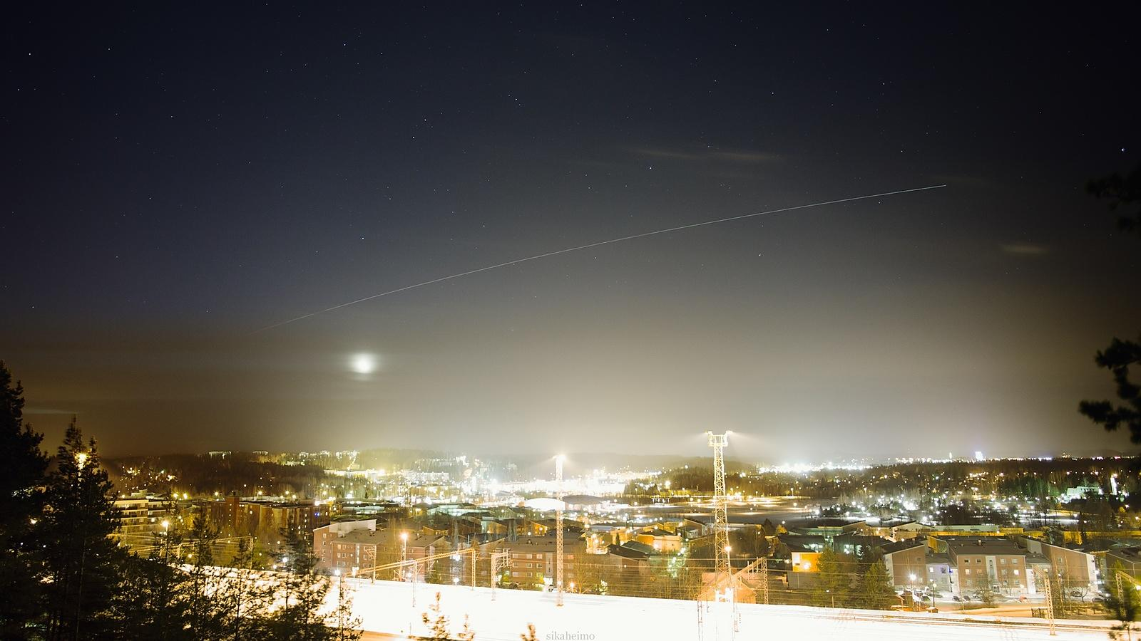 International Space Station somewhere over Ukraine, photographed in Lahti, Finland on Jan 17 2015.