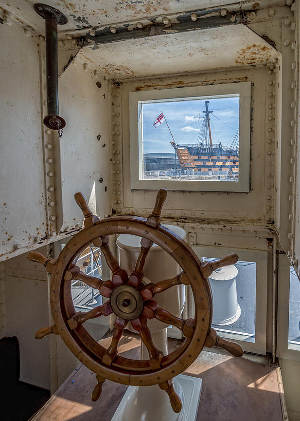 Wheelhouse of M33 battleship in display at Portsmouth Historic Dockyard