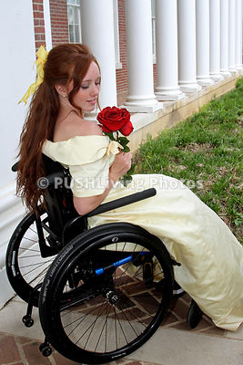 Young woman in a wheelchair on a Prom date