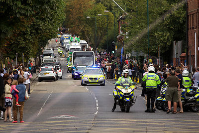 Paralympic Relay Vehicles approaching Kilburn