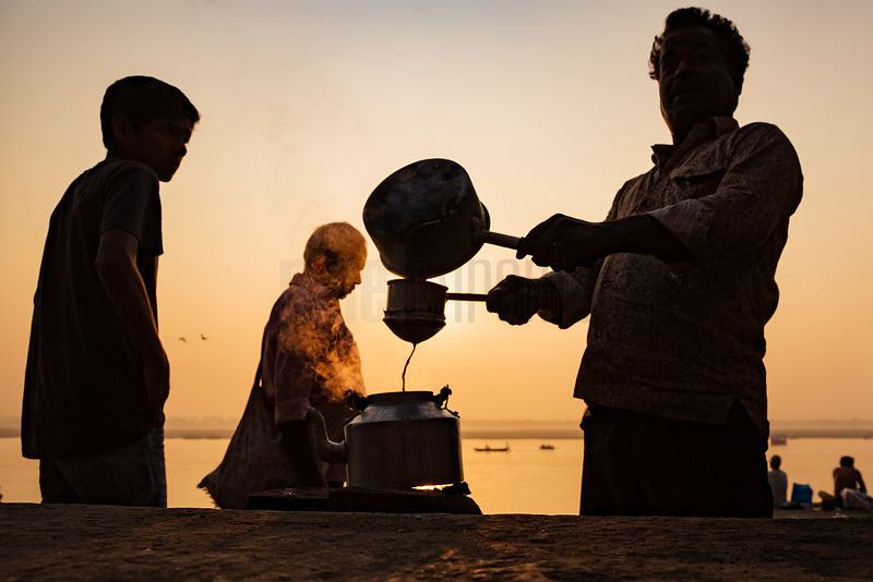 Chai Wallah Making Tea at one of the Ganges River Ghats