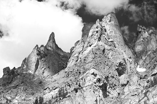 DRAGON'S TAIL COULOIR ROCKY MOUNTAIN NATIONAL PARK COLORADO BLACK AND WHITE