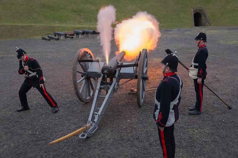 Victorian Battle Re-Enactors Firing Cannon at Fort Nelson, Hampshire