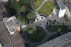 Warrington aerial photograph of the central garden in Chadwick House  Birchwood Park