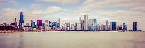 Retro Panorama Chicago Skyline Picture