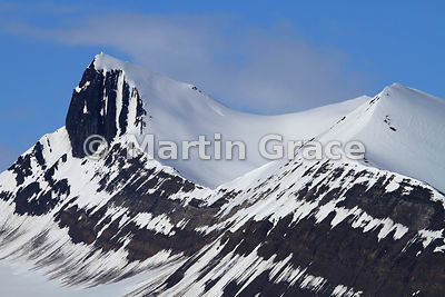 Mountainscape with snow and rock, Hornsund, Spitsbergen, Svalbard