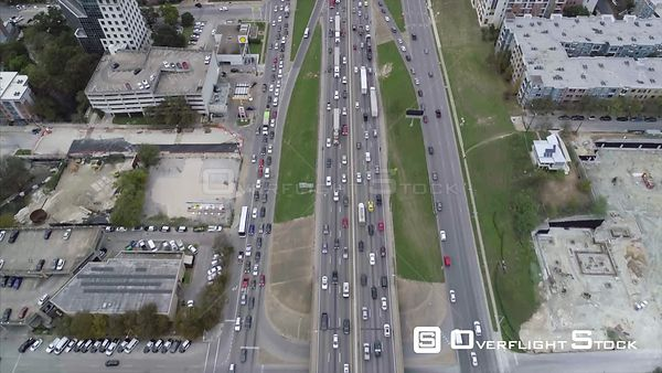 Heavy Traffic on the Interregional Highway Drone Video Austin Texas USA