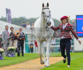 Louisa Milne Home and KING EIDER - The first vets inspection (trot up),  Land Rover Burghley Horse Trials, 3rd September 2014.