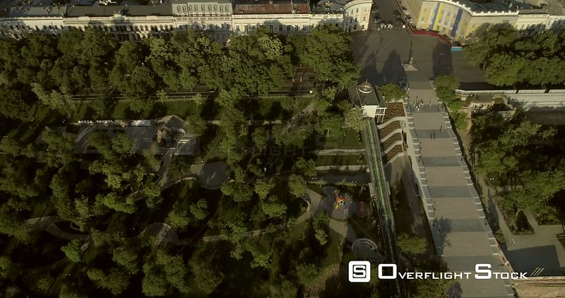Aerial camera flies back and tilts up to reveal the Potemkin Steps, Istanbul Park and the Odessa Skylin Ukraine