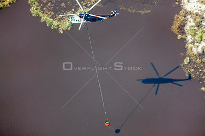 Sikorsky S-61N Helicopter Slinging Fire Fighting Bucket. Mine Fire Hazelwook Victoria Australia