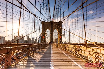 Brooklyn bridge at sunset, New York, USA