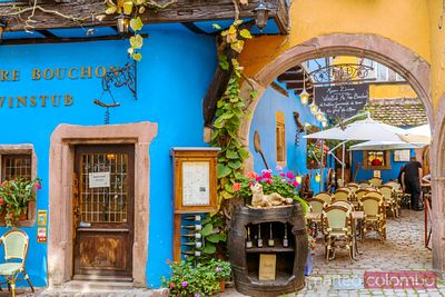 Typical restaurant in the town of Riquewihr, Alsace, France