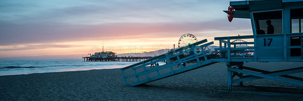 Santa Monica Pier and Lifeguard Tower 17 Sunset Panorama