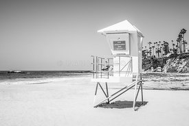 California Lifeguard Tower in Black and White
