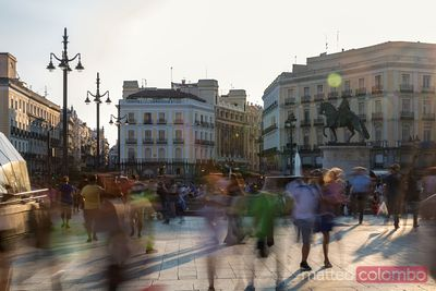 Puerta del Sol square crowded, Madrid, Spain