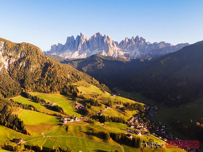 Aerial drone view of Funes valley, Dolomites, Italy