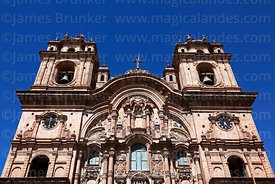 Upper part of entrance facade of La Compañia de Jesus Jesuit church, Plaza de Armas, Cusco, Peru