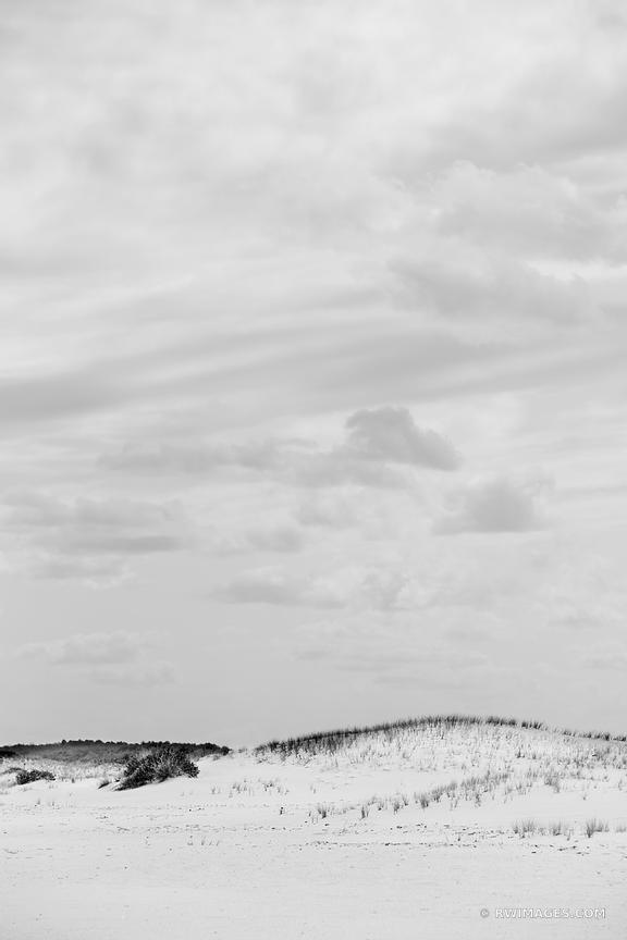 BEACH SAND DUNES ASSATEAGUE ISLAND NATIONAL SEASHORE MARYLAND BLACK AND WHITE VERTICAL