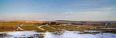 Panoramic farmhouse in Peak District snow