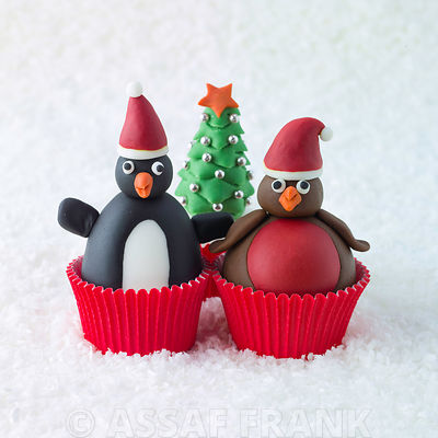 Christmas Robin and Penguin cupcakes on snow