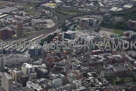 Leeds aerial photograph of East Parade and St Pauls Street towards Wellington Street and the developments taking place in the...