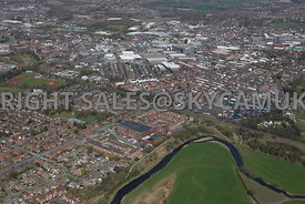 Bury aerial photograph of Alfred Street and Pilot Mill looking towards  Bury town centre