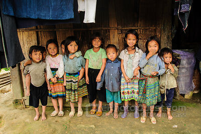 Group of Hmong Village Children Outside Hut