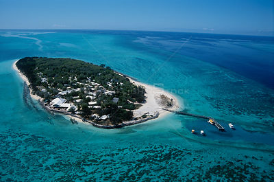Aerial view of Heron Island, Great Barrier Reef, Queensland Australia, Capricorn-Bunker