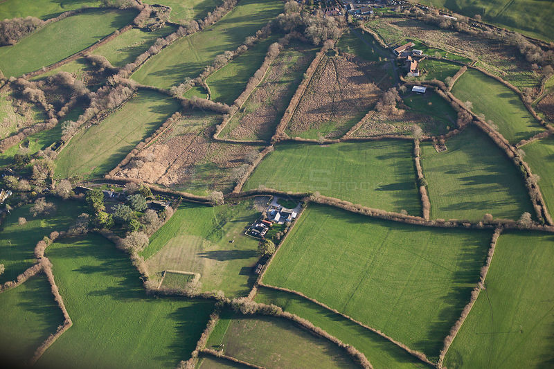 Aerial view of fields with small farms, and rough 'culm' grasslands, Somerset, England, UK, January 2014.