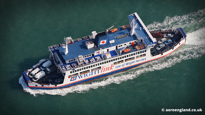 aerial photograph of the  Isle of Wight Ferry St Cecilia  England UK