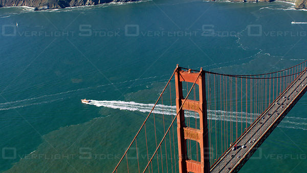 Aerial view of the Golden Gate Bridge spanning the so-called Golden Gate linking San Francisco and Sausalito in the Bay Area ...
