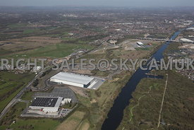 Liverpool Road, Peel Green, Eccles, high level view showing the infrastructure, M60 motorway, the Manchester Ship Canal and A...
