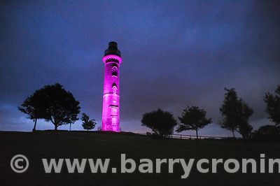 Tower of Lloyd bathed in Pink