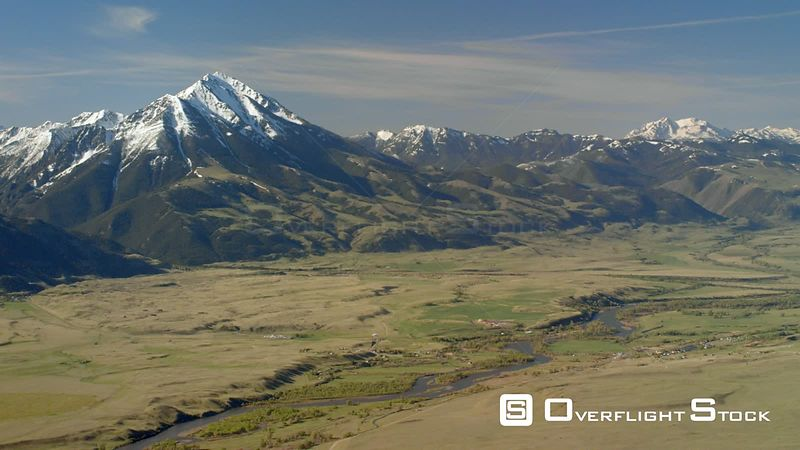 The Absaroka mountains stand above the Paradise Valley and Yellowstone river near Yellowstone National Park
