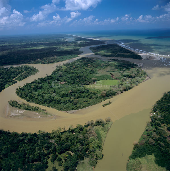 Aerial view of Oxbow bends in rivers flowing into the Mosquitio coast, caribbean coast, NE Honduras, Central America 2006
