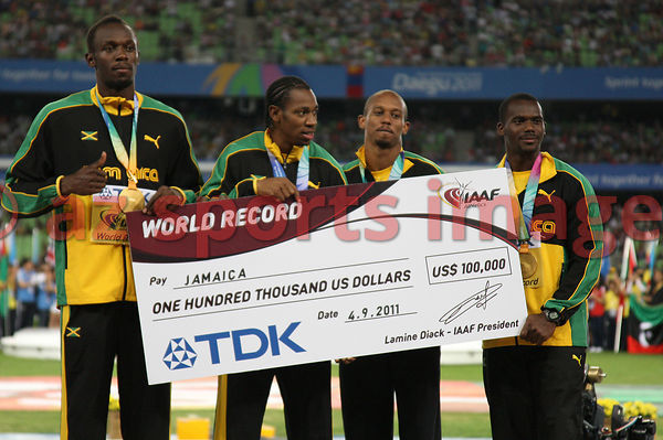 The Jamaican 4x100m team set a new world record of 37.04 at the IAAF World Championships. Team members Nesta Carter, Michael ...