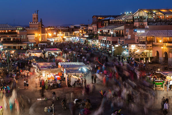People Moving in the Main Square Djemaa El-Fna at Dusk