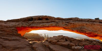 Mesa arch panoramic at sunrise, Utah, USA
