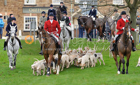 The Cottesmore Hunt hounds arrive at the Boxing Day meet