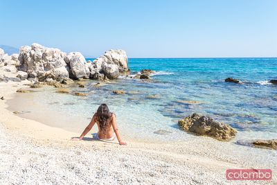 Woman on the beach in summer. Zakynthos, Greek Islands, Greece