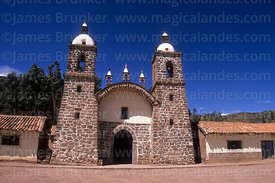 Entrance facade of colonial church, Raqchi, Cusco Region, Peru