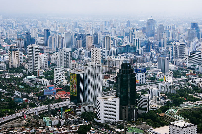 Hazy Bangkok Skyline from Baiyoke Tower II, Bangkok