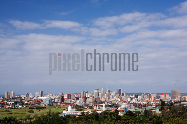Skyline of the City of Durban from the Berea looking towards the Indian Ocean