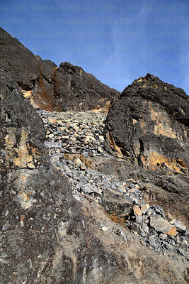 Rockfall above El Choro Inca trail caused by road construction, Cotapata National Park, Bolivia