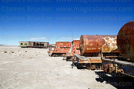Abandoned tank wagons outside Avaroa station, Nor Lípez Province, Bolivia