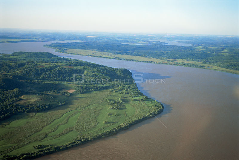 Aerial view of Parana river, before dam construction, Argentina / Paraguay border, South America